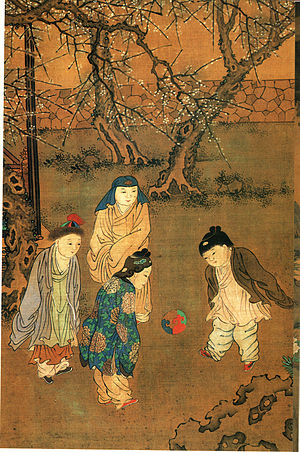 Cuju - One Hundred Children in the Long Spring (长春百子图), a painting by Chinese artist Su Hanchen (苏汉臣, active 1130–1160s AD), Song Dynasty