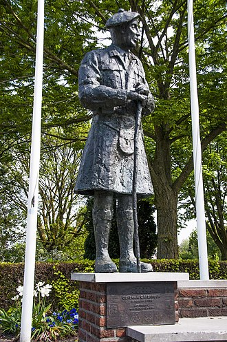 Colin Muir Barber - War memorial with statue of General C.M. Barber in The Netherlands