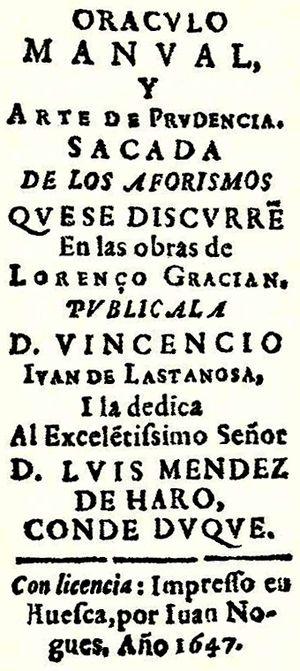 Baltasar Gracián - Image: Oráculo manual y arte de prudencia (detalle)