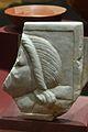 Oscillum decorat per les dues cares amb cap femení i llebre, Edeta, Museu de Prehistòria, València.JPG