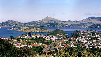 Otago Harbour - Looking across Port Chalmers and the Otago Harbour to the Otago Peninsula