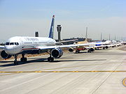 Line up of taxiing aircraft at Phoenix Sky Harbor International Airport
