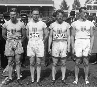 Athletics at the 1920 Summer Olympics – Men's 4 × 100 metres relay - Image: Paddock, Scholz, Munchison, Kirskey 1920