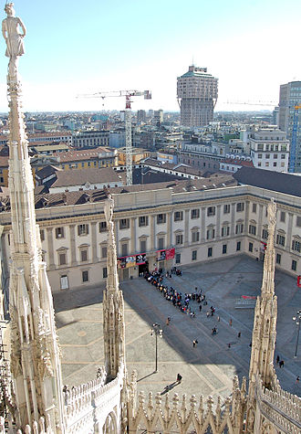 Royal Palace of Milan -  Palazzo Reale and the square in front as seen from the roof of the Duomo, among the marble spire