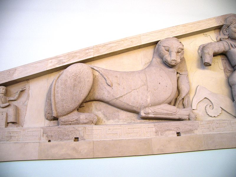 File:Panther at the western pediment of the Artemis Temple in Corfu.jpg
