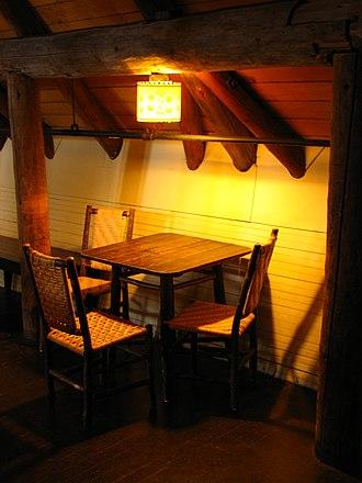 Paradise Inn (Washington) - Image: Paradise Inn mezzanine table Mount Rainier Washington