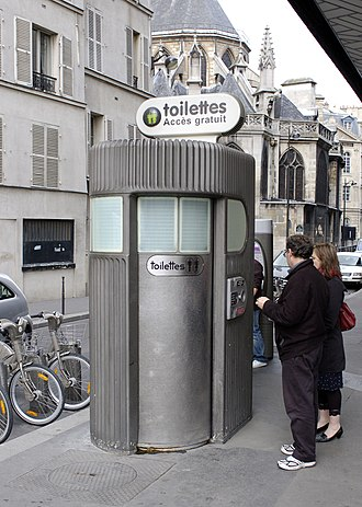 Pay toilet - A Sanisette, a freestanding, coin-operated pay toilet stall in Paris.