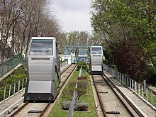 A photograph looking up the railway, showing the two tracks receding into the distance and two cabins, one nearer than the other