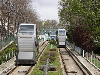 Montmartre Funicular - Track and cabins after the second renovation