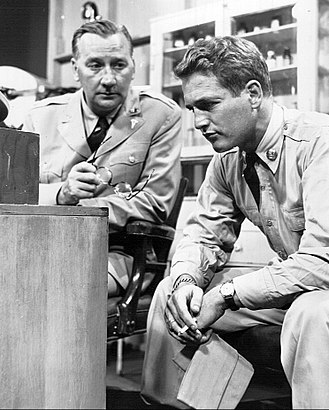 "Edward Andrews - Edward Andrews and Paul Newman from The Kaiser Aluminum Hour presentation of ""Army Game""."