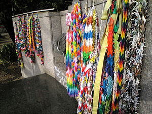 One thousand origami cranes - Eternal flame of peace, with cranes, in Toshogu shrine, Tokyo, Japan.