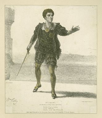 Hamlet in performance - Print of William Pelby playing Hamlet in an 1826 production at Drury Lane.