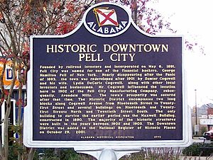 Pell City, Alabama - Historical Marker telling the story of Pell City, AL.