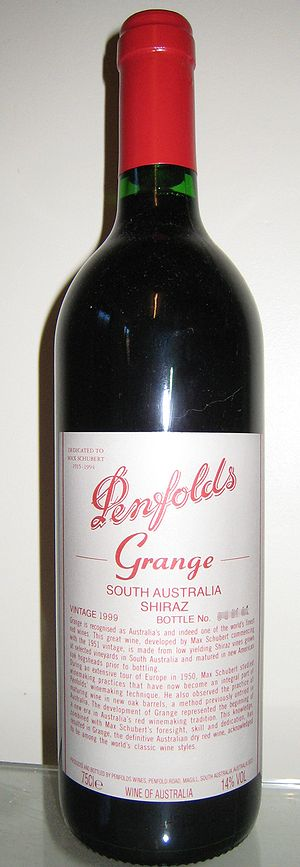 Bottle of Penfolds Grange wine