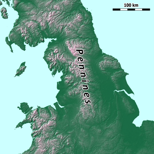 Northern England and adjoining areas, showing the general extent of the Pennines Pennines location map.png