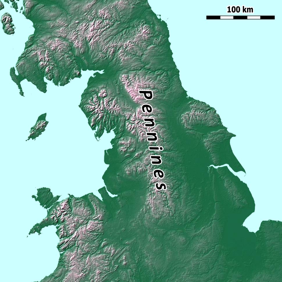 Pennines location map
