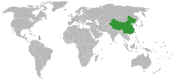 Map indicating locations of People's Republic of China and Singapore