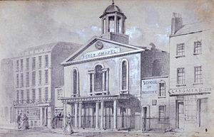 Charlotte Street - Percy Chapel, Charlotte Street, 1857. (demolished 1867)