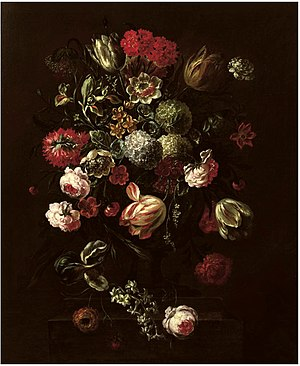 Peter Frans Casteels - Tulips, roses, lillies and other flowers in a vase on a stone ledge