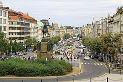 View of Wenceslas Square from the National Museum in 2013