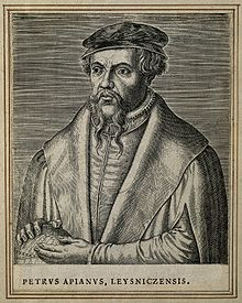 Petrus Apianus. Line engraving by P. Galle, 1572. Wellcome V0000172.jpg
