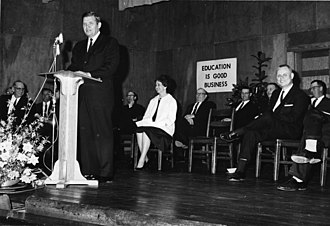 Terry Sanford - Sanford promoting public education at a school in Pender County, 1962