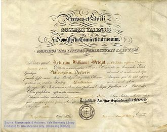 Doctor of Philosophy - A Yale University PhD diploma from 1861.