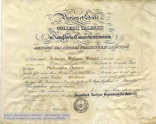 A Yale University PhD diploma from 1861. Ph D diploma Arthur William Wright Yale University 1861.jpg