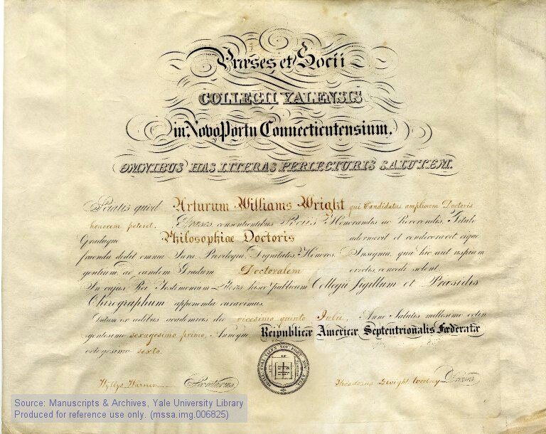 Ph D diploma Arthur William Wright Yale University 1861