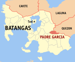 Map of Batangas showing the location of Padre Garcia