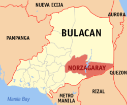Map of Bulacan with Norzagaray highlighted