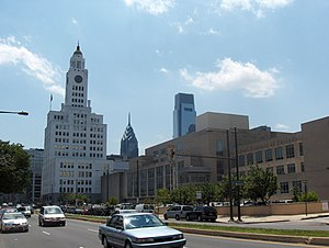 School District of Philadelphia - The School District of Philadelphia Education Center, the Philadelphia Board of Education Building at 440 North Broad Street in the right foreground.