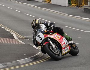 Michael Dunlop - Dunlop on the Formula 1 Suzuki machine for the Classic TT race at 2013 Manx Grand Prix