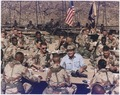 Photograph of President George H. W. Bush Enjoying Thanksgiving Dinner with Troops - NARA - 186423.tif