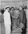 Photograph of President Truman being greeted by dignitaries upon his arrival at Boca Chica airport, during his... - NARA - 200510.tif