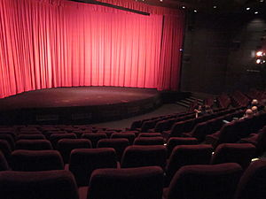 Pictureville Cinema - The interior, ready for showing a Cinerama film on the curved screen