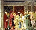 Piero della Francesca- Legend of the True Cross - the Queen of Sheba Meeting with Solomon.JPG