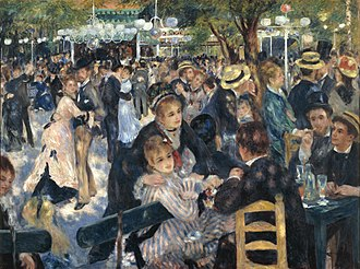 Impressionism - Pierre-Auguste Renoir, Dance at Le Moulin de la Galette (Bal du moulin de la Galette), 1876, Musée d'Orsay, one of Impressionism's most celebrated masterpieces.