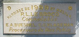 Jersey Legal French - This official stone which marks the inauguration of a municipal office in 1999 bears the names of the Connétable and the Procureurs du Bien Public of Saint Helier.