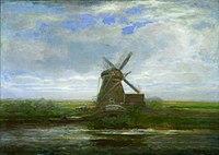 Piet Mondriaan - Oostzijdse mill with panoramic sunset, mill at center - A416 - Piet Mondrian, catalogue raisonné.jpg