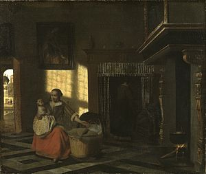 Interior with a Mother close to a Cradle - Image: Pieter de Hooch Interior with a Mother close to a Cradle 1665 1670