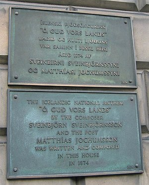 Lofsöngur - A memorial plaque at 15 London Street in Edinburgh recognizing the house in which the Icelandic national anthem, Lofsöngur, was composed