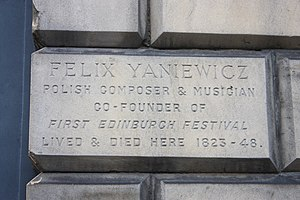 Plaque to Felix Janiewicz, 84 Great King Street, Edinburgh.JPG
