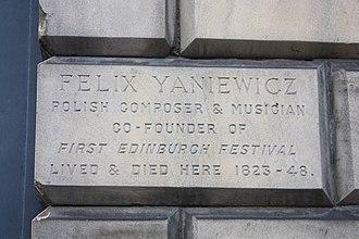Feliks Janiewicz - Plaque to Felix Janiewicz, 84 Great King Street, Edinburgh