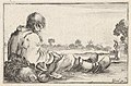Plate 11- an old man sitting on the ground to left, seen from behind, a peasant woman seen from behind to right in backfround, from 'Caprice faict par de la Bella' MET DP831116.jpg