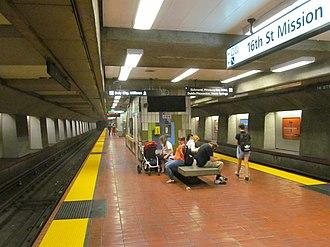 16th Street Mission station - Platform at 16th Street Mission station in 2017