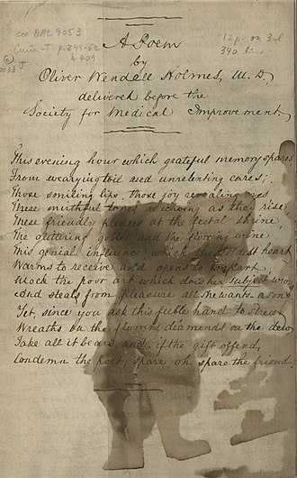 Boston Society for Medical Improvement - Poem by Oliver Wendell Holmes, Sr., read before the Society at its anniversary dinner of 1838 or 1840