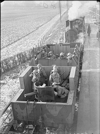 Polish armoured train units in Britain - Polish troops in armoured train UK 1941.  Ref: IWM H 7034