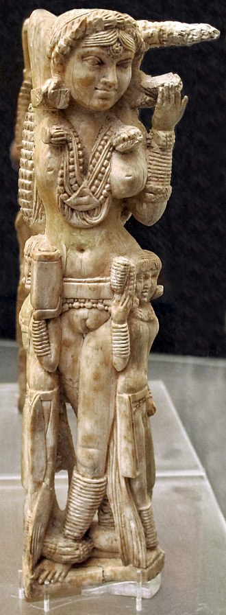 Pompeii Lakshmi - An ivory statuette of Lakshmi (1st century CE), found in the ruins of Pompeii (destroyed in an eruption of Mount Vesuvius in 79 CE).