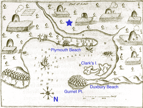 Samuel de Champlain's 1605 map of Plymouth Harbor showing the Wampanoag village of Patuxet, with some modern place names added for reference. The star marks the approximate location of the Plymouth Colony. Port St Louis Annotated.png